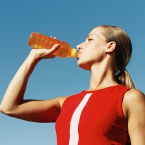Female drinking sports drink